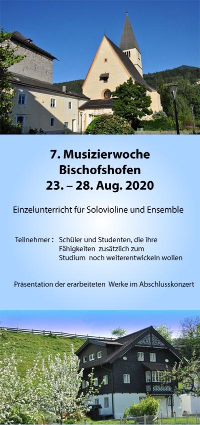 7. Musizierwoche Bischofshofen 23 – 28. Aug. 2020